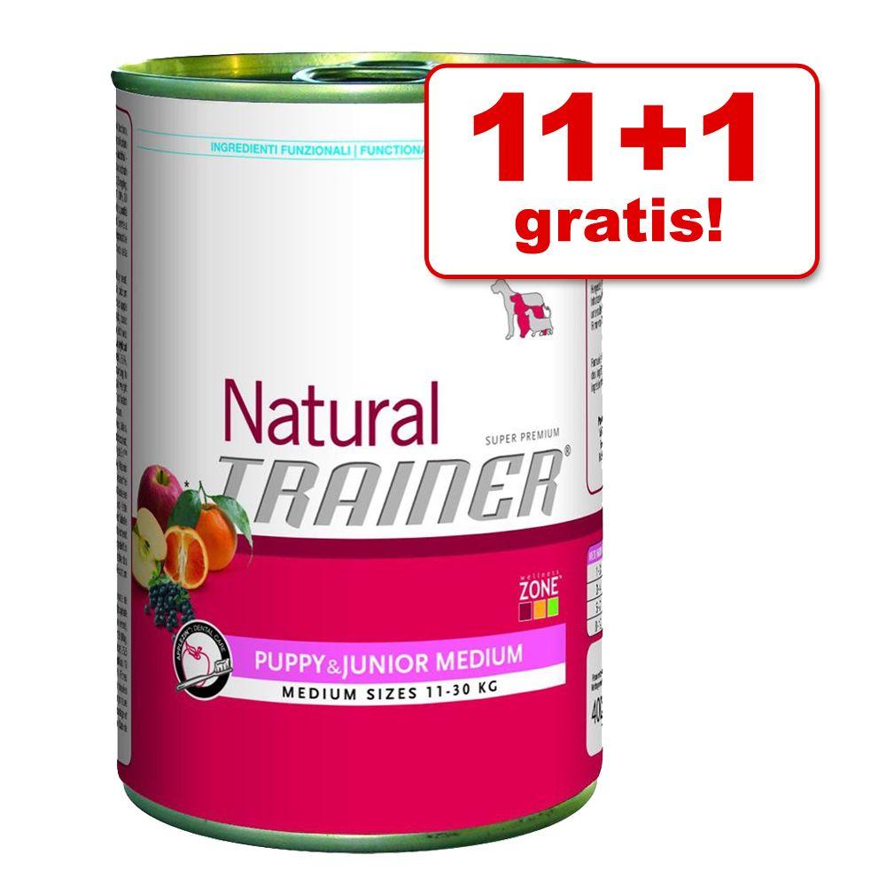 11 + 1 gratis! Trainer, 12 x 400 g - Natural Maxi Adult, Wołowina, ryż i żeń-szeń