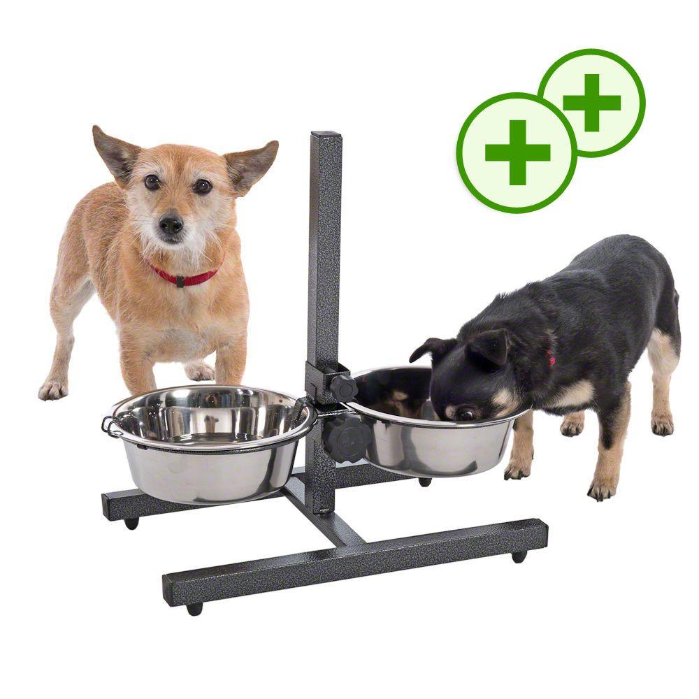 Podwójne punkty bonusowe: Stojak z dwiema miskami stalowymi dla psa - kwiecień 2017 - 2 x 2,8 l, Ø 25 cm, wysokość do 50 cm