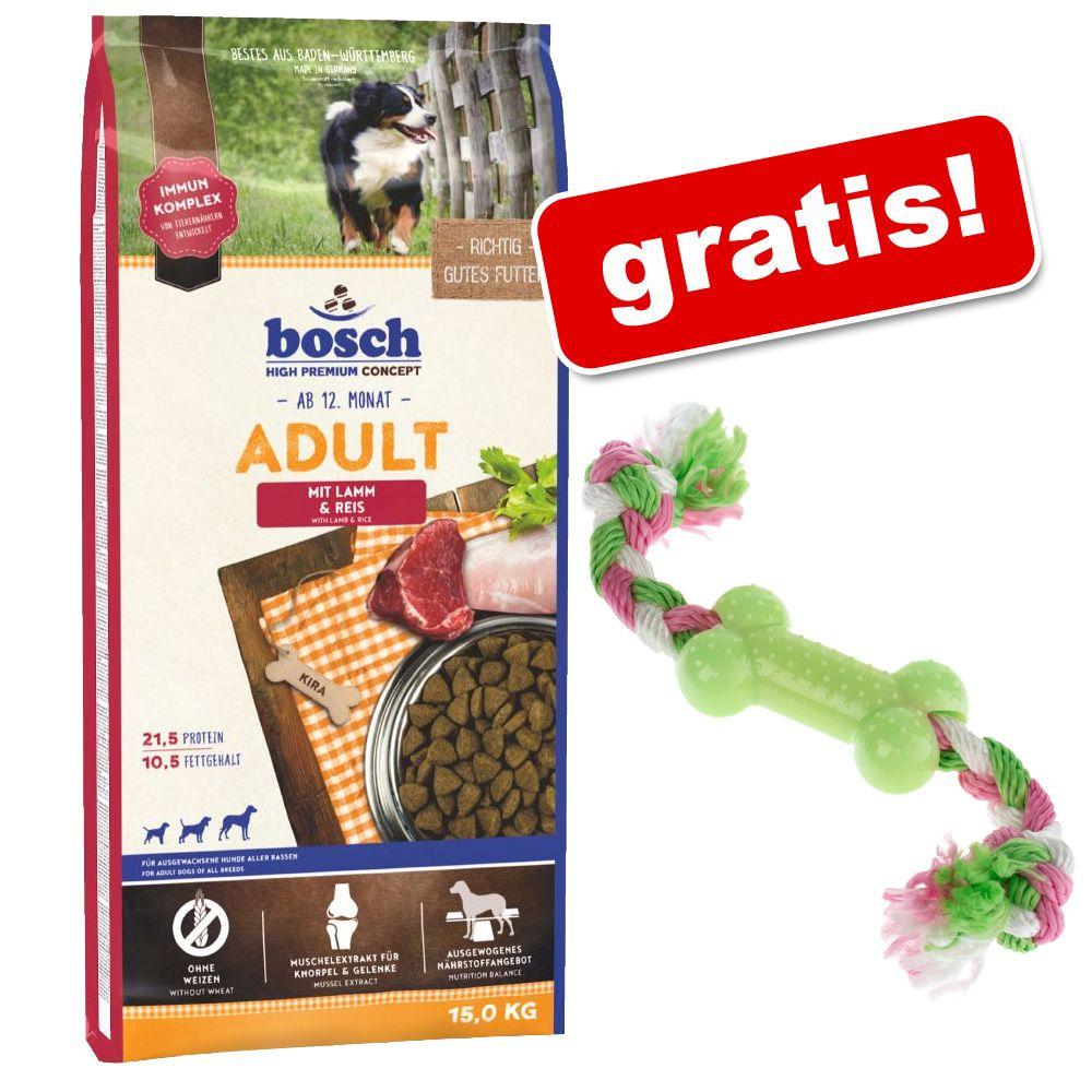 Duże opakowanie Bosch + Zabawka dla psa z TPR - kostka ze sznurkiem gratis! - Junior Mini, drób, 15 kg