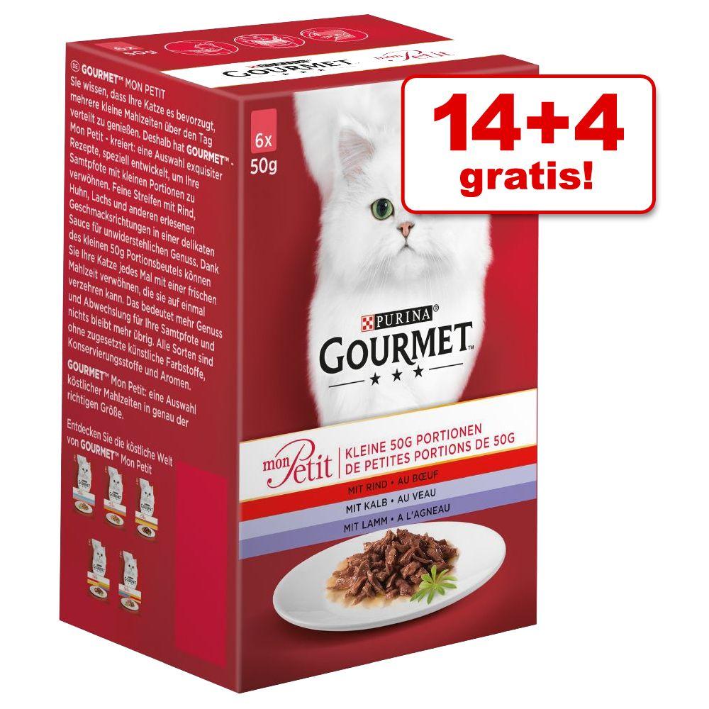 14 + 4 på köpet! 18 x 50 g Gourmet Mon Petit - Duetti Kött