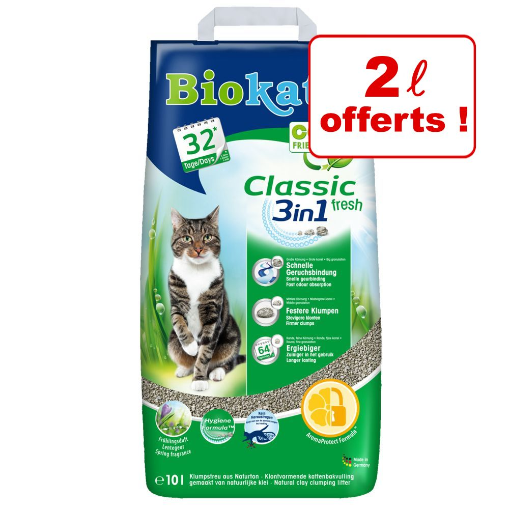 8L Classic 3in1, senteur talc Biokat's - Litière pour chat + 2L offerts!