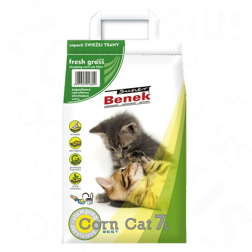 Super Benek Corn Cat Fresh Meadow - Ekonomipack: 3 x 7 l (ca 15 kg)