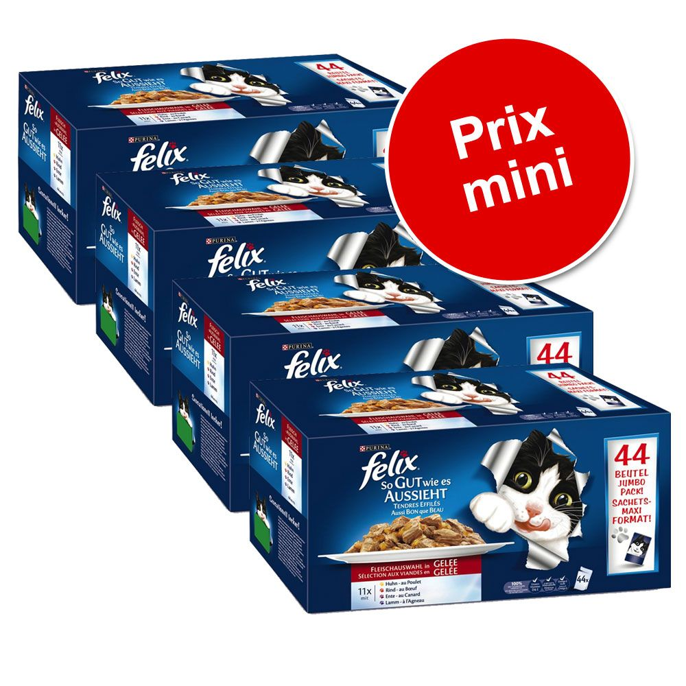 Sachets Felix Tendres Effilés 132 x 100 g à prix spécial ! - sélection à la viande et au poisson