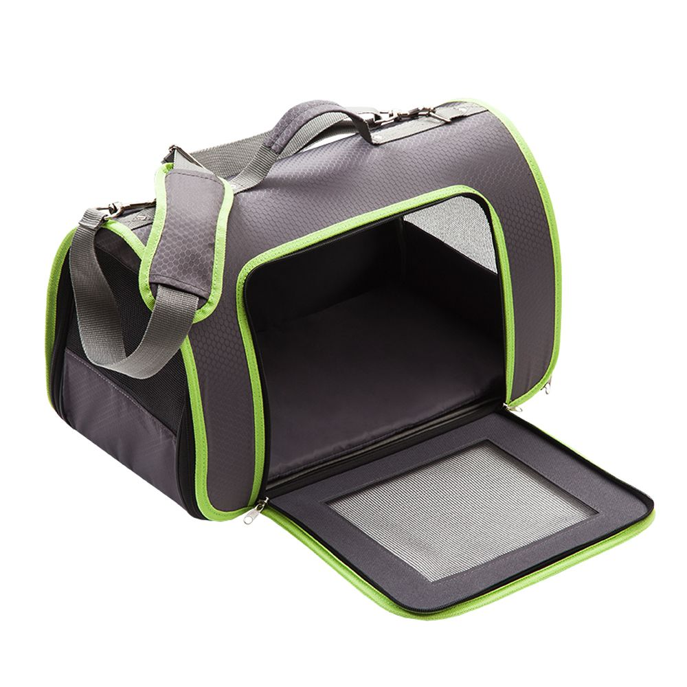 Honeycomb Pet Carrier – Grey & Green - 44.5 x 25.4 x 27 cm (L x W x H)