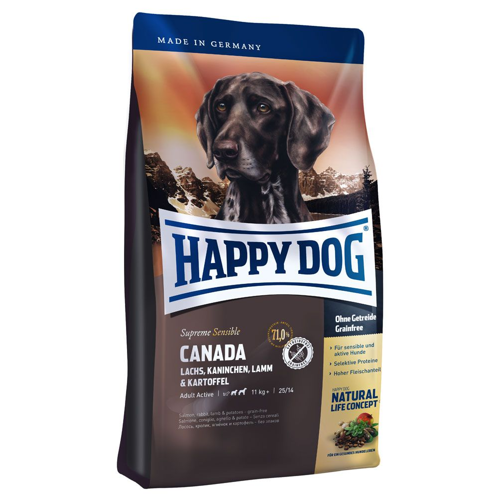 Happy Dog Supreme Sensible Canada is a gluten-free dry dog food with easy-to-digest potato as a source of carbohydrates. As a result, this high-quality complete fo...