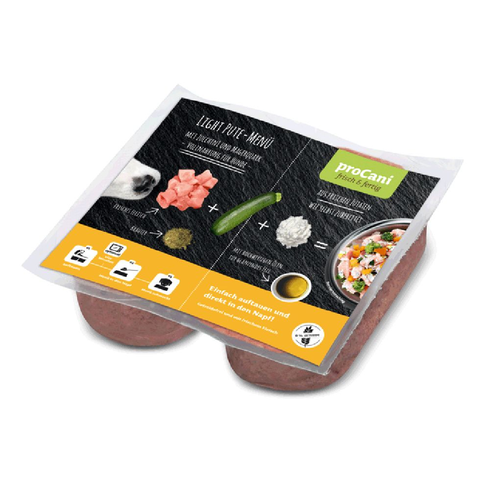 proCani Raw Dog Food Light Turkey Menu with Courgette & Quark