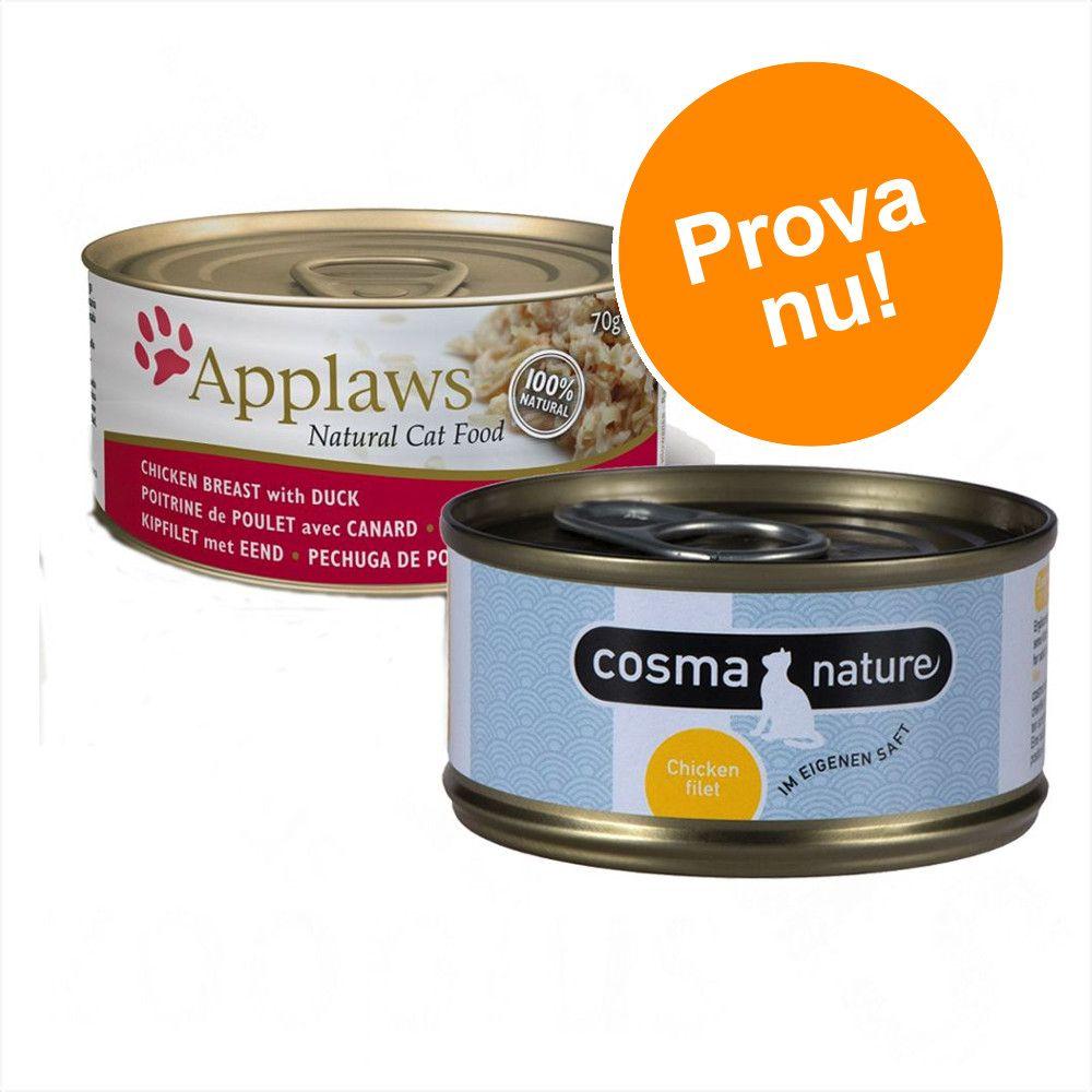 Blandat sparpack: 24 x 70 g Applaws våtfoder i buljong + 6 x 70 g Cosma Nature! - Tonfiskfilé & tång + Cosma Nature provpack