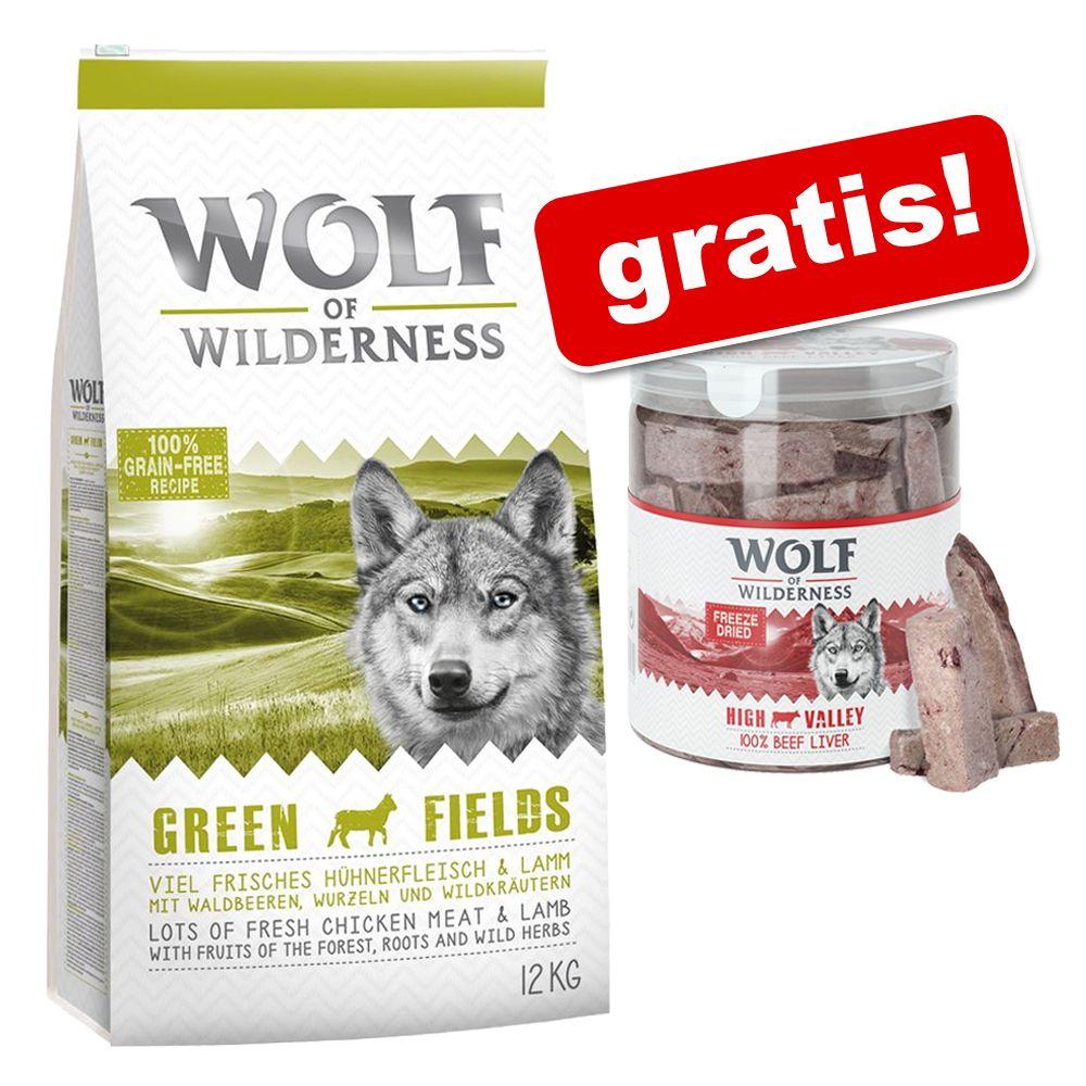 12 kg Wolf of Wilderness + przysmak Wolf of Wilderness, wątroba wołowa, 90 g gratis! - Adult Sunny Glade, jelenina