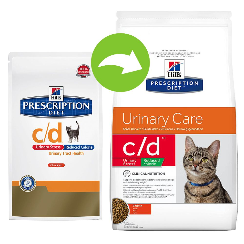 Foto Hill's c/d Reduced Calorie Prescription Diet Feline - secco Pollo - % 2 x 8 kg Hill's Prescription Diet Reni e vie urinarie