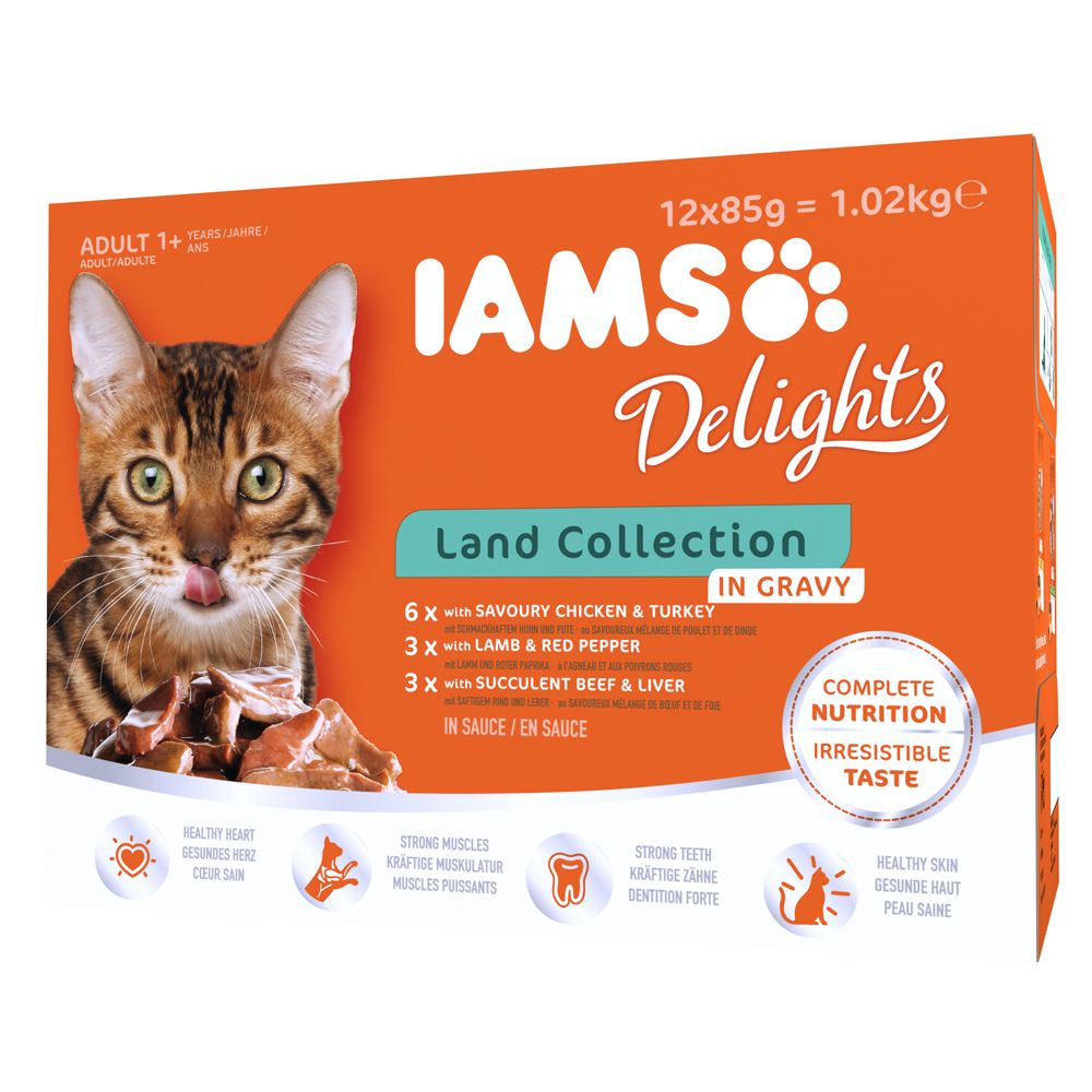Adult Land Collection in Gravy IAMS Delights Wet Cat Food