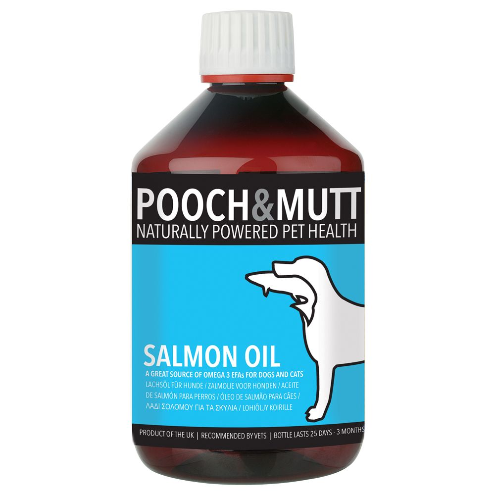 Pooch & Mutt Salmon Oil is a high-quality skin and coat supplement that is suitable for both dogs and cats. It contains a high content of Omega 3 (24-26%), Ome...