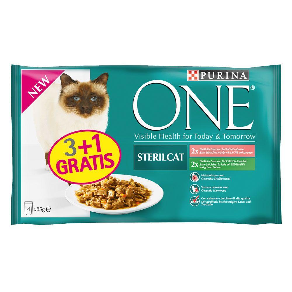 3 + 1 gratis! 4 x 85 g Purina ONE Adult - 2 x Huhn und 2 x Rind
