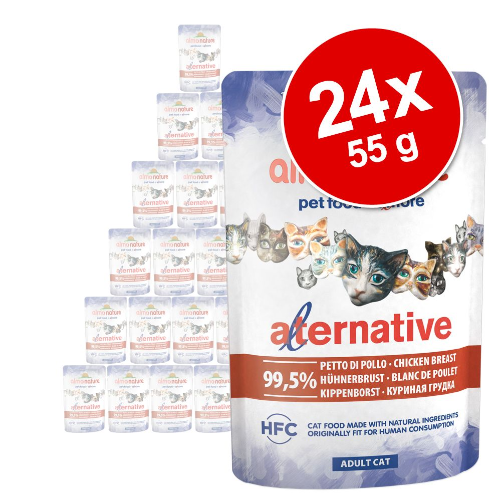 Ekonomipack: Almo Nature HFC Alternative Cat 24 x 55 g - Kycklingbröst