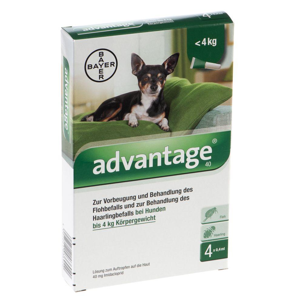 Advantage® 40 für Hunde - 40: bis 4 kg (4 Pipetten x 0,4 ml)