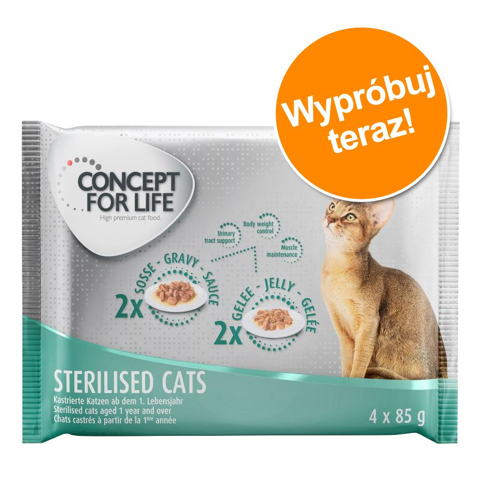 Pakiet próbny Concept for Life - 4 x 85 g - All Cats - 2 x w sosie, 2 x w galarecie