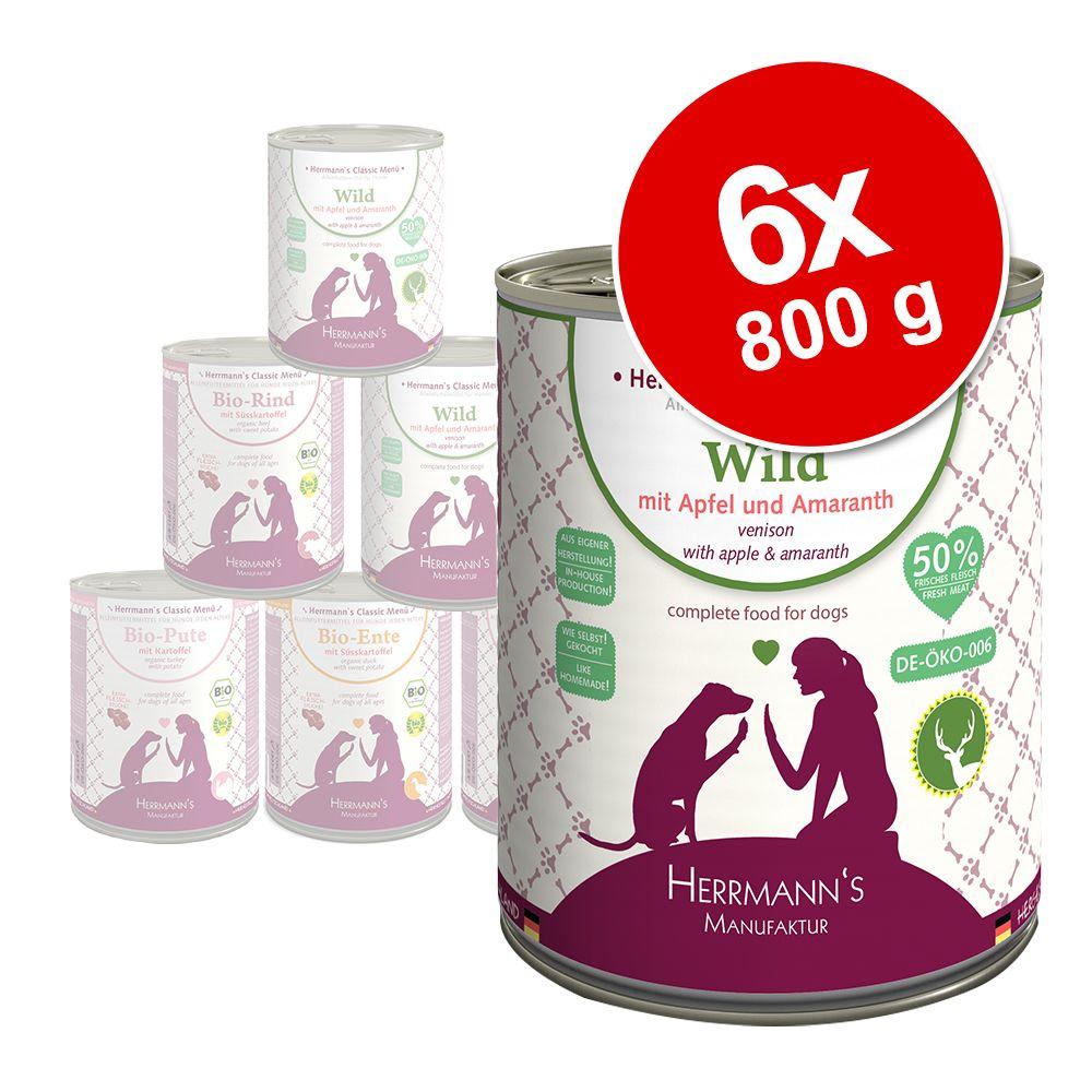 6x800g Herrmann's Menu Sans céréales bœuf bio, patates douces, potiron - Pâtée pour chien