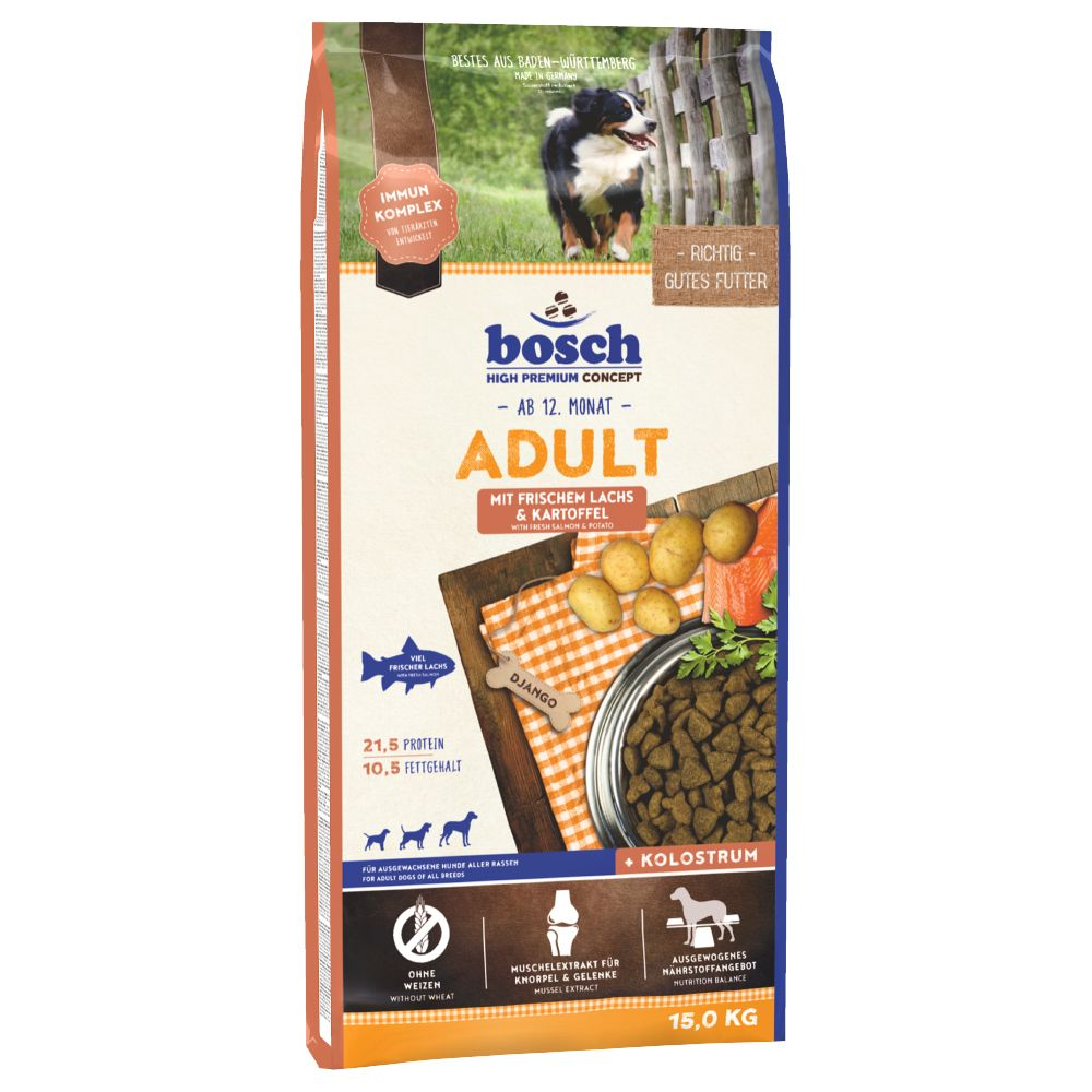 Bosch Adult Salmon & Potato Dry Dog Food is the perfect wheat-free diet for adult dogs. It contains high-quality fish protein (14% salmon), as well as mussel e...