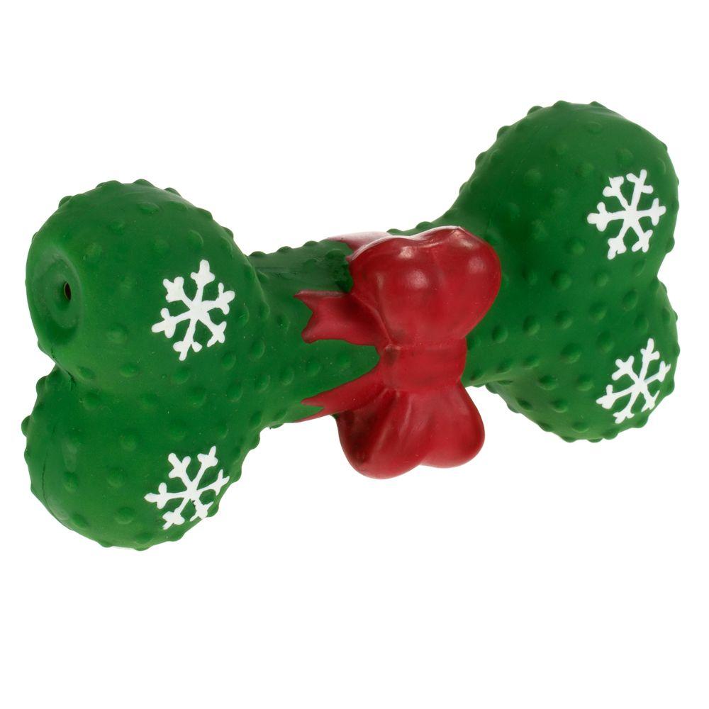 Latex Bone with Bow Dog Toy