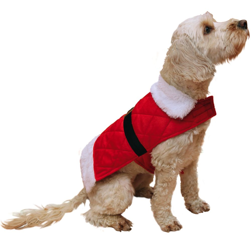 Santa Dog Coat - Size M: approx. 32cm Back Length