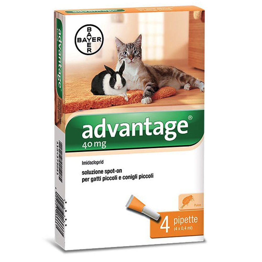 Image of Advantage® 40 soluzione spot-on gatti e conigli da 0 a 4 kg - 2 x 4 pipette da 0,4 ml