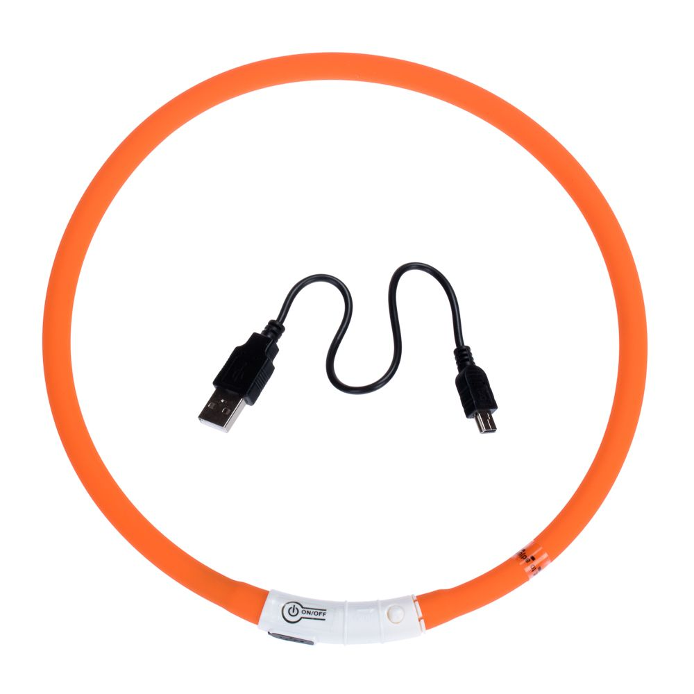 USB Dog Glow Collar - Orange (65cm)