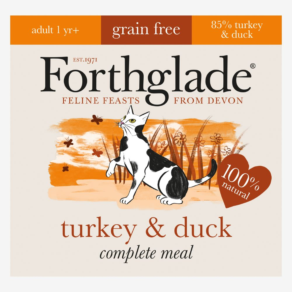 Forthglade Complete Meal Grain-Free Adult Cat - Turkey & Duck - Saver Pack: 48 x 90g