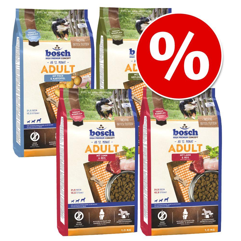 4 x 1 kg bosch Adult im gemischten Paket zum Sonderpreis! - Geflügel & Hirse, Fisch & Kartoffel, 2 x Lamm & Reis