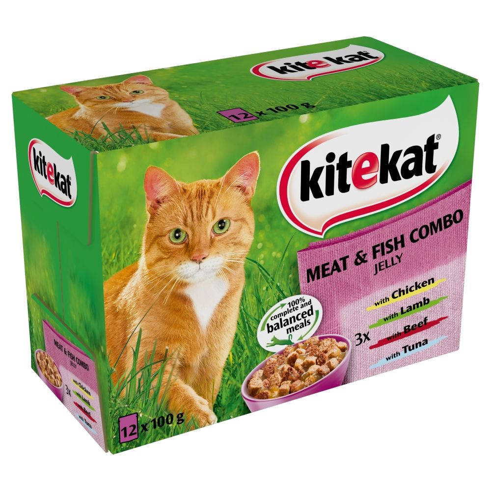 Kitekat Fresh Pouches 12 x 100g - Meat & Fish Combo in Jelly