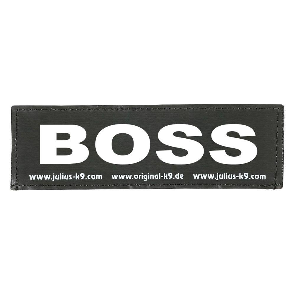 Image of Coppia di adesivi Julius-K9 - logo: BOSS - Large L 16 x P 5 cm