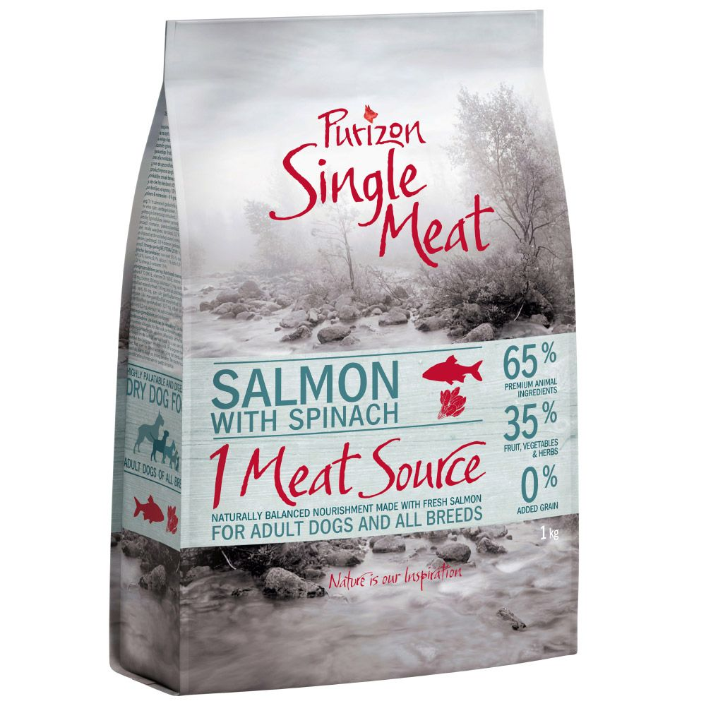 Salmon with Spinach Single Meat Grain-Free Adult Purizon Dry Dog Food