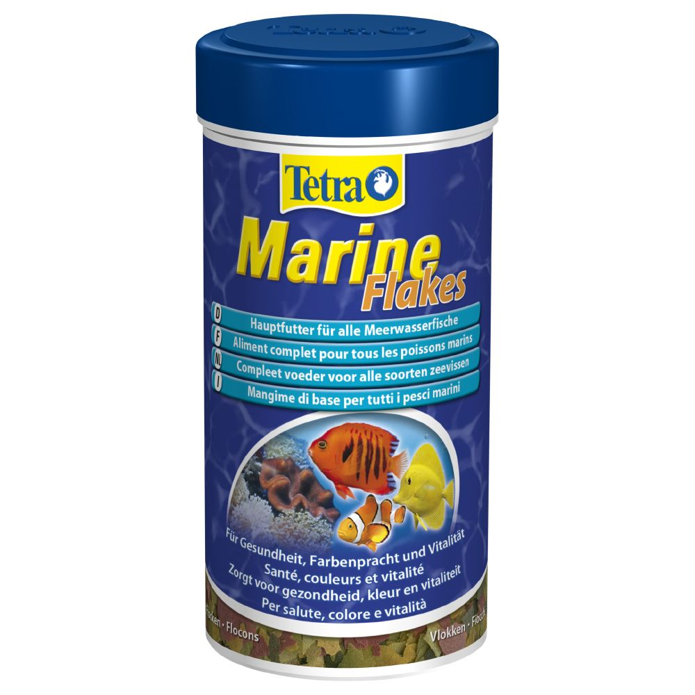 Tetra Marine Flakes are a complete flake food for small and medium-sized marine fish. The flakes have special floating properties that are guaranteed to be accepte...