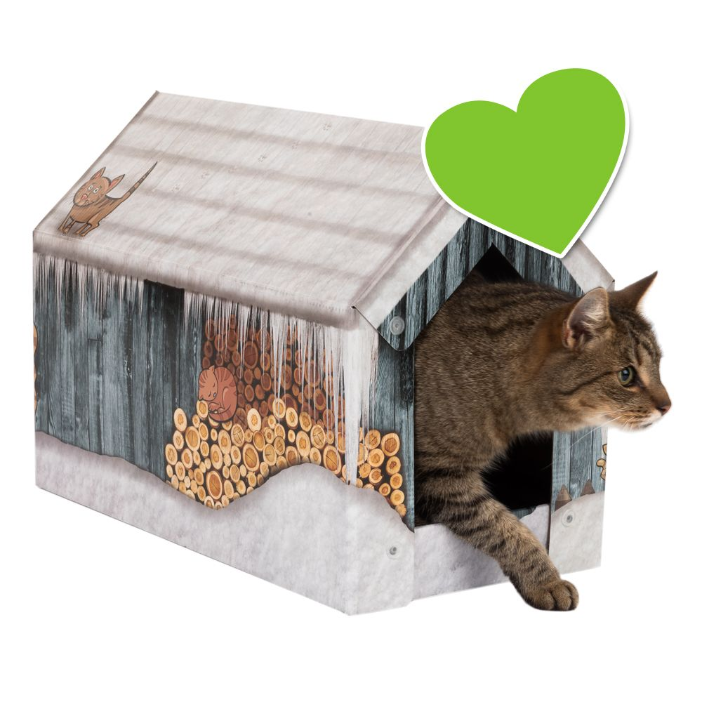 zoolove domek Home-Winter z matą do drapania - Dł. x szer. x wys.: 50 x 26 x 36