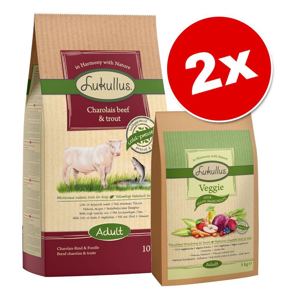 Offre Lukullus 15 kg : 10 kg + 5 kg Veggie pour chien - bœuf Charolais, truite