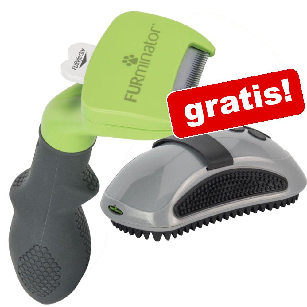 FURminator för hund + massageborste på köpet! M kort hår bredd 6,1 cm