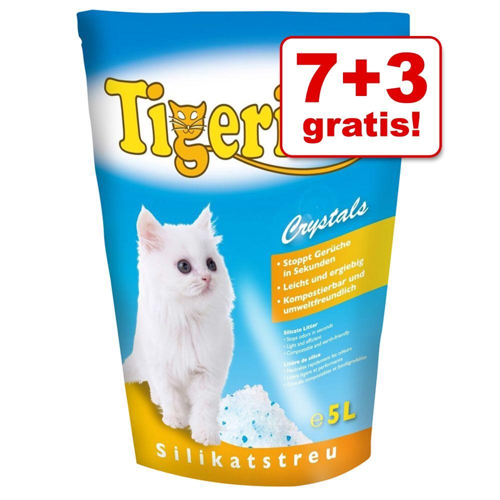 7 + 3 på köpet! 10 x 5 l Tigerino Crystals kattsand - 10 x 5 l Tigerino Crystals med lavendeldoft