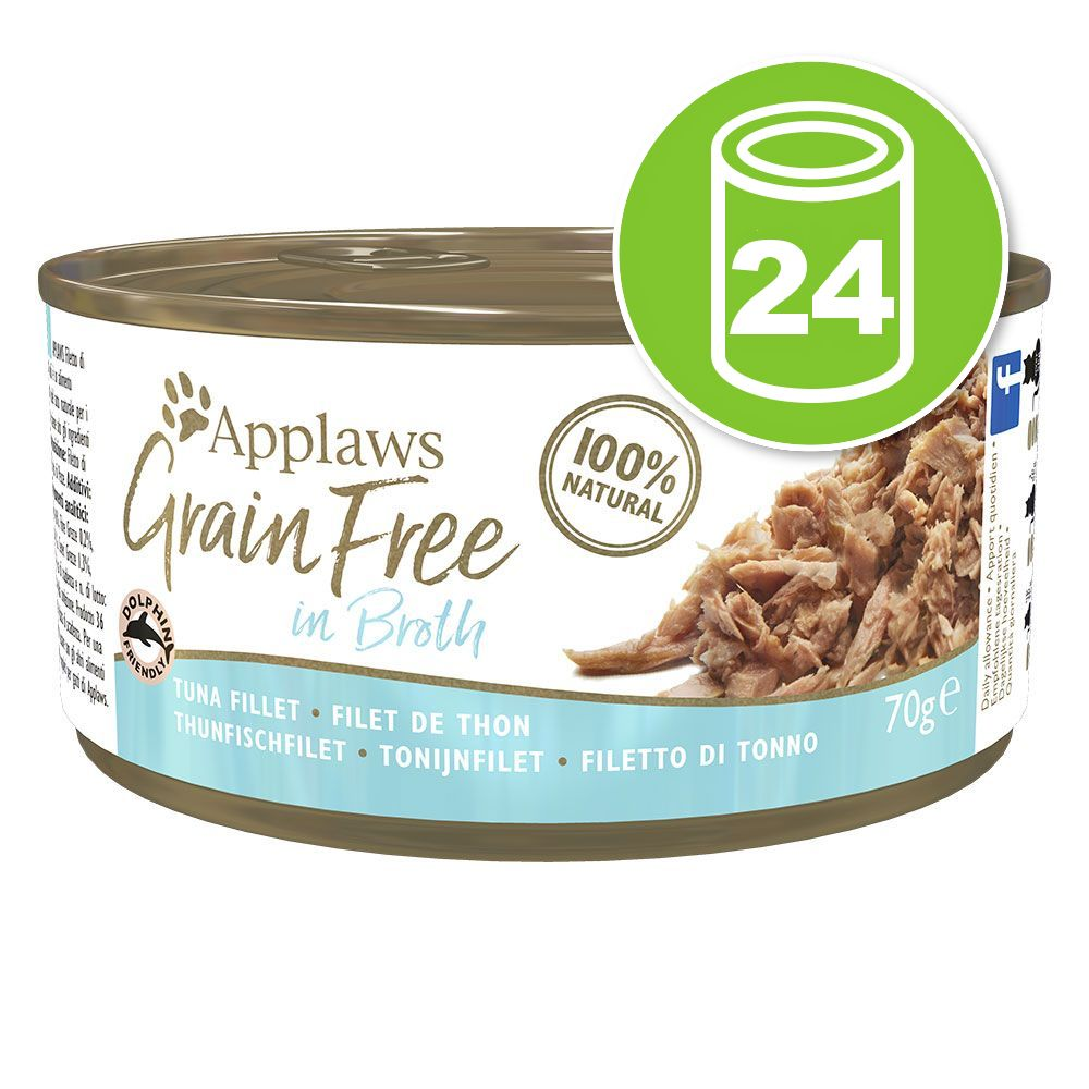 24x70g Applaws Grain Free en bouillon filet de thon - Pâtée pour chat