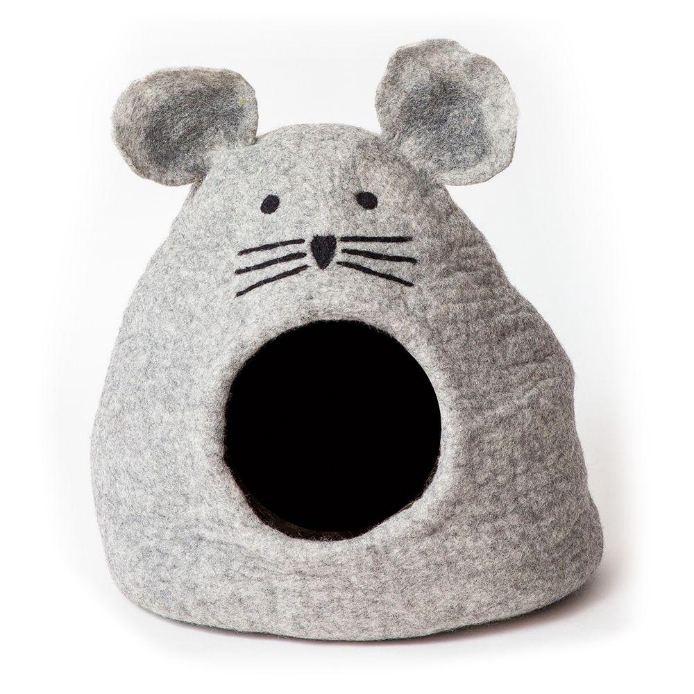 dharma dog karma cat Grey Mouse grotta - L 32 x B 43 x H 42 cm - ljusgrå