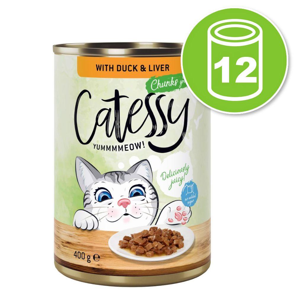 12x400g Catessy Bouchées en sauce lapin, dinde - Pâtée pour chat