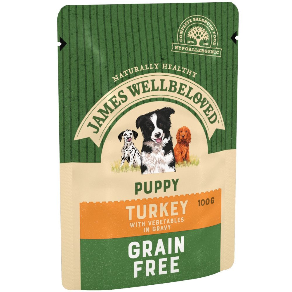 Puppy/Junior Turkey & Vegetables Grain-Free Pouches James Wellbeloved Wet Dog Food