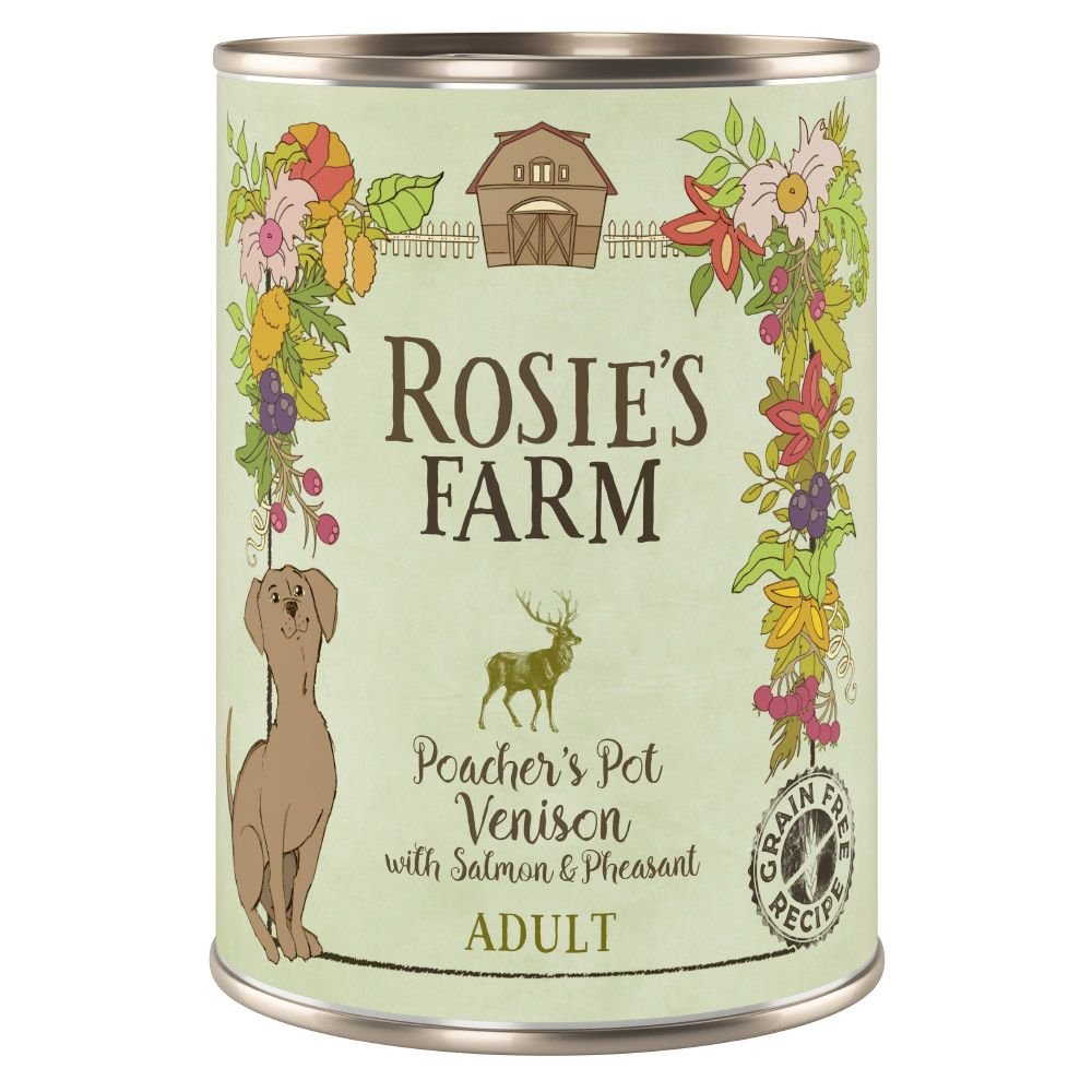 400g Rosie's Farm Wet Dog Food - 5 + 1 Free!* - Adult Game with Salmon & Pheasant (6 x 400g)