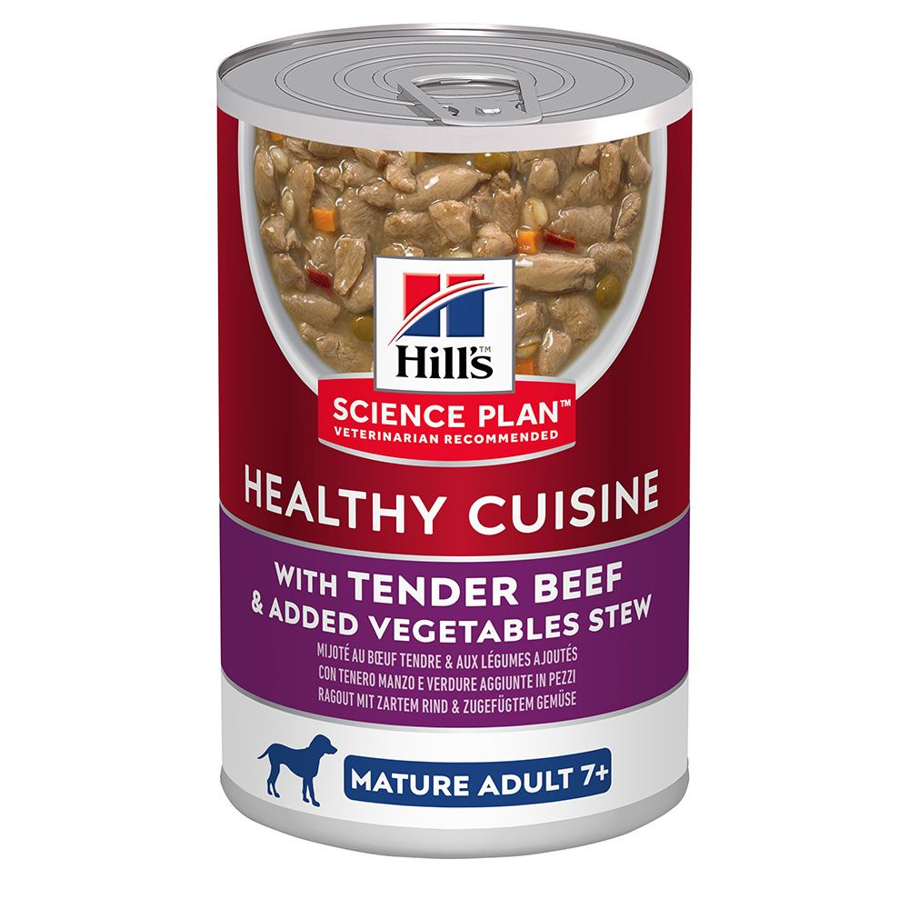 12x354g Hill's Science Plan Beef & Vegetables Mature 7+ Healthy Cuisine Stews Wet Dog Food