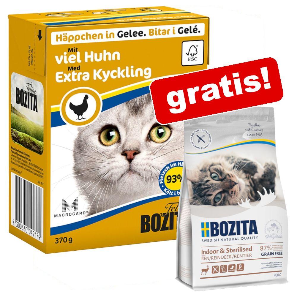 24 x 370 g Bozita våtfoder + 400 g Indoor & Sterilised Ren på köpet! - Lax & mussla i gelé