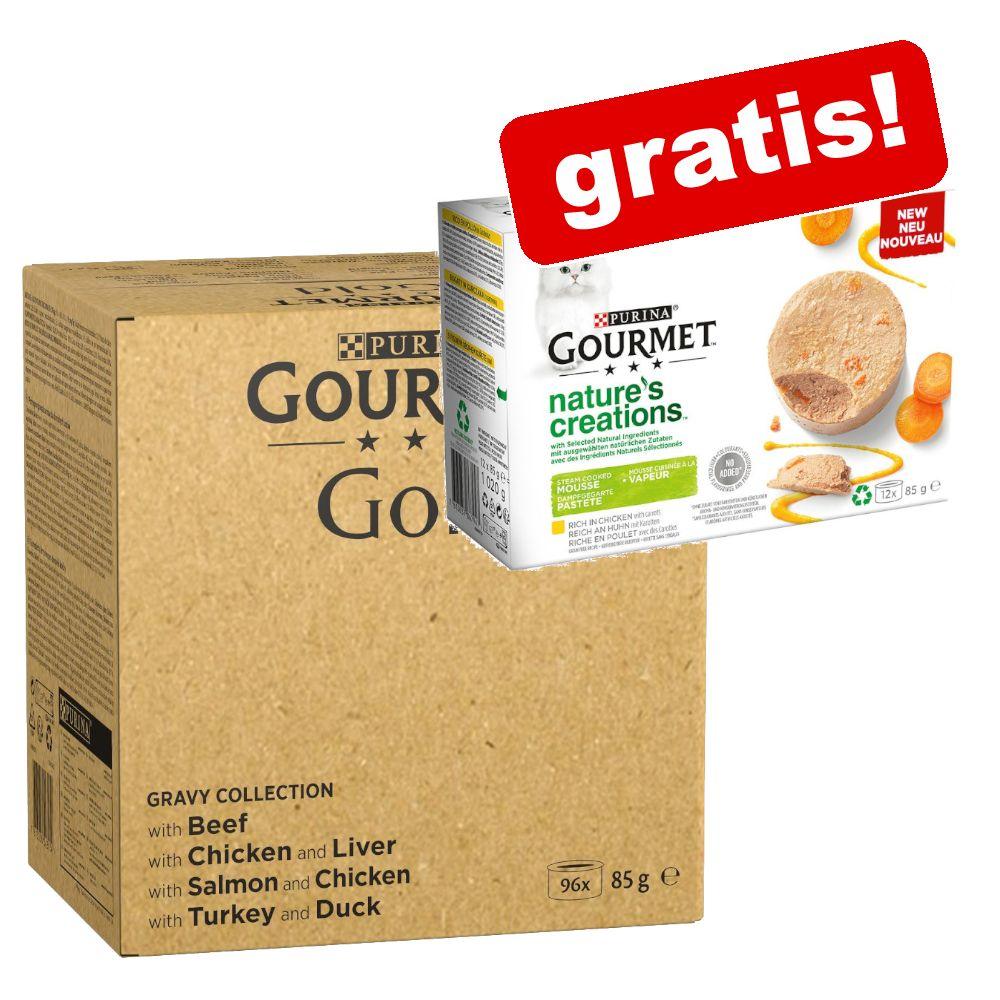 96 x 85 g Gourmet Gold + 12 x 85 g Nature's Creations på köpet! - Raffinerad Ragout: nötkött, kyckling, tonfisk, lax