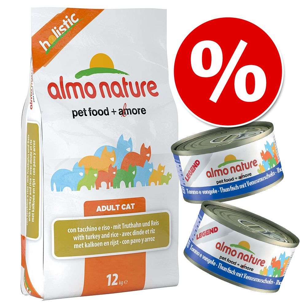 Blandpack: 2 kg Almo Nature torrfoder + 12 x 70 / 140 g våtfoder - 2 kg Holistic Kitten Chicken & Rice + 12 x 70 g Legend Kitten Chicken