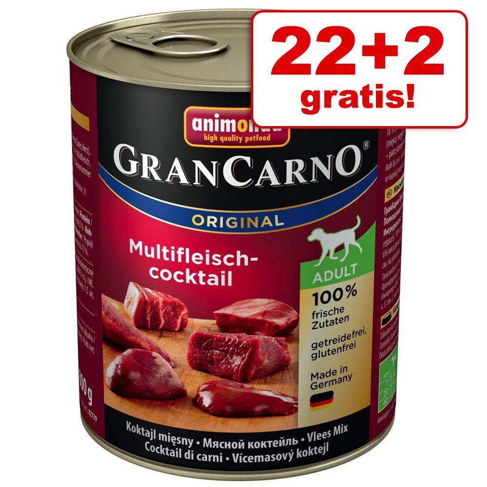 22 + 2 på köpet! Animonda GranCarno Original Adult 24 x 800 g – Nötkött & sej med spenat