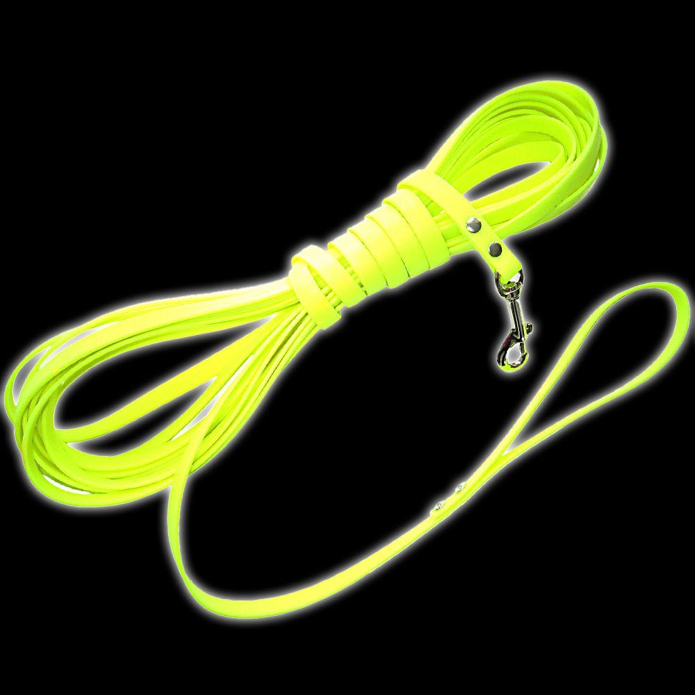 Longe en biothane Heim, jaune fluo pour chien - L 1000 x l 1,3 cm