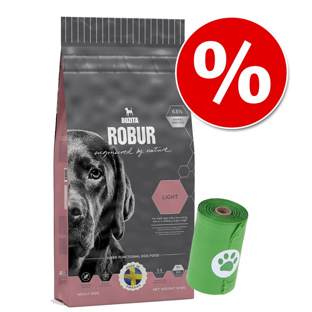 12 - 15 kg Bozita Robur hundmat + biologiskt nedbrytbara bajspåsar på köpet! - Senior (11 kg)