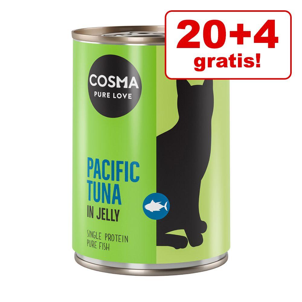 20 + 4 på köpet! 24 x 400 g Cosma Thai/Asia och Original i gelé Original Kyckling