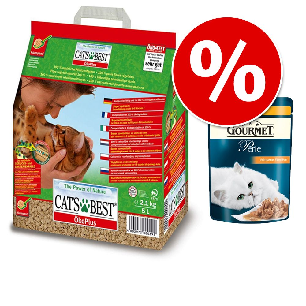 Foto Tutto in 1 click! 20 l Cat's Best + Gourmet Perle - Cat's Best Eco Plus + 24 x 85 g Gourmet Perle