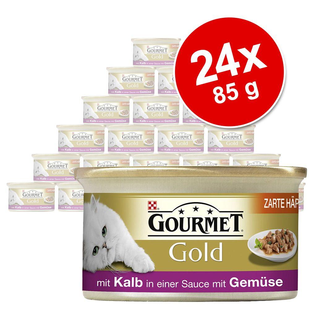 24 x 85 g Gourmet Gold Zarte Häppchen Katzennassfutter, Rind